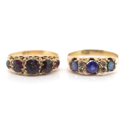 239 - Two antique 9ct gold rings. set with gemstones. Both marked 9ct approx 3.3 grams weight, ring size N...