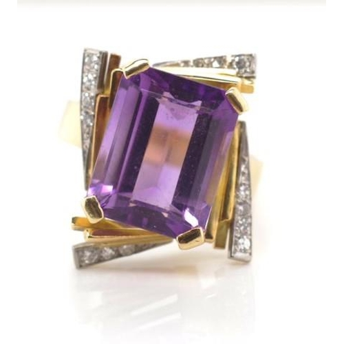 24 - 18ct gold, amethyst and diamond ring marked 18c approx 13mm x 10mm emerald cut amethyst, with a diam...