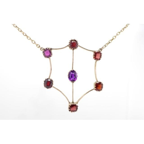 244 - Antique 9ct gold, amethyst and garnet necklet unmarked approx total weight 7.22 grams weight, 38cm l...