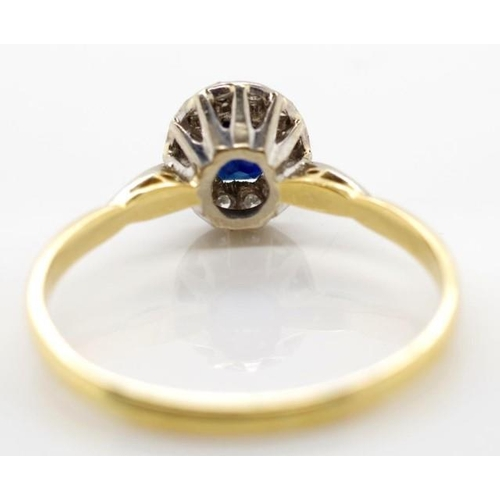 254 - Sapphire, diamond and 18ct gold cluster ring marked 18ct approx weight 2.8 grams, ring size U...