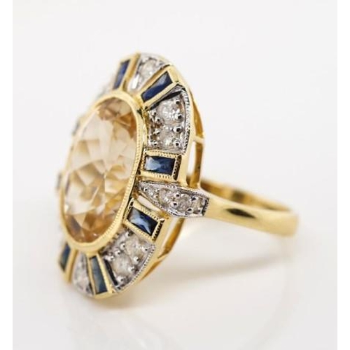 26 - Morganite, sapphire and diamond cocktail ring of art deco style marked 14k to yellow gold shank. Wit...