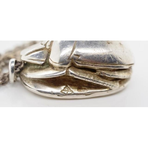 261 - 9999 Silver scarab beetle pendant on chain chain marked 925 Approx 95 grams weight inc chain...