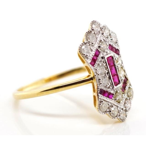 262 - Ruby and diamond 18ct gold ring marked 18k 750 approx 2.59 grams gold weight, 16x diamond 0.39ct tot...