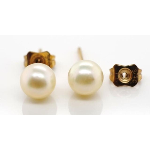 265 - 6mm pearl and 9ct stud earrings with marked 375 butterfly back...