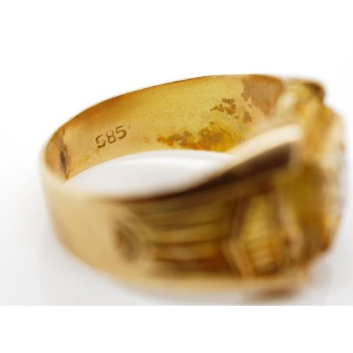 27 - 14ct yellow gold ring marked 585 83.5. Approx weight 7 grams weight, ring size Q. Gemstone tests as ...