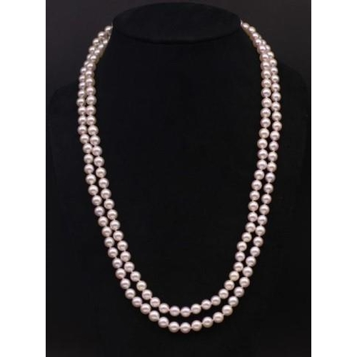 279 - Opera length Akoya white pearl necklace approx 159x 7-7.5mm  120cm length...