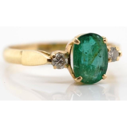 28 - Emerald, diamond and 14ct gold ring unmarked Approx ring weight 2.6 grams, ring size O. Valuation co...