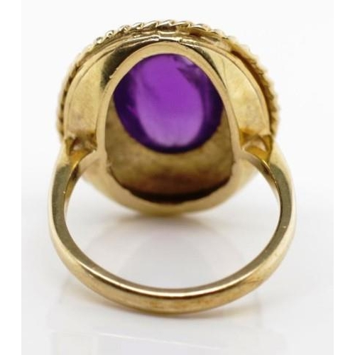 30 - Etruscan revival 9ct gold and amethyst ring marked English hallmarks 9 375 S. City mark rubbed Appro...