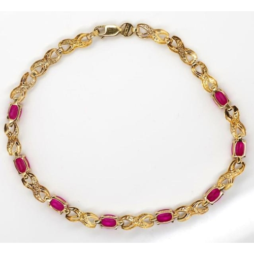 307 - 9ct two tone gold, diamond and simulant bracelet marked 375 Birmingham. Approx weight 4 grams weight...