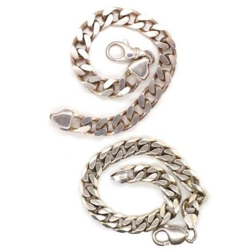 313 - Two sterling silver Cuban link bracelets marked 925 approx 78 grams weight, length 22cm, 8.7mm width...