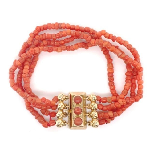 314 - A multi strand coral bracelet and 14ct gold clasp marked 585 oak leaf and Amsterdam mark. Approx len...