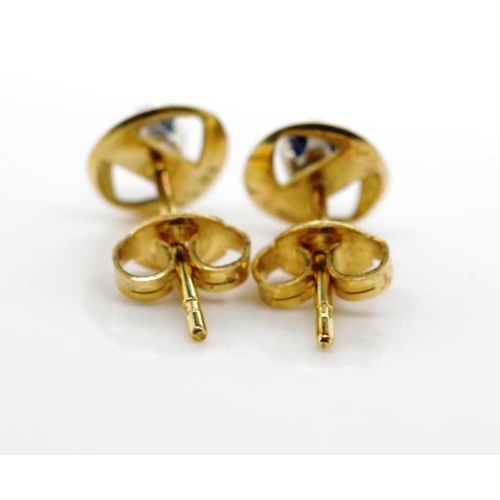 323 - Sapphire and 18ct yellow gold stud earrings marked 18ct approx weight 1.6 grams...