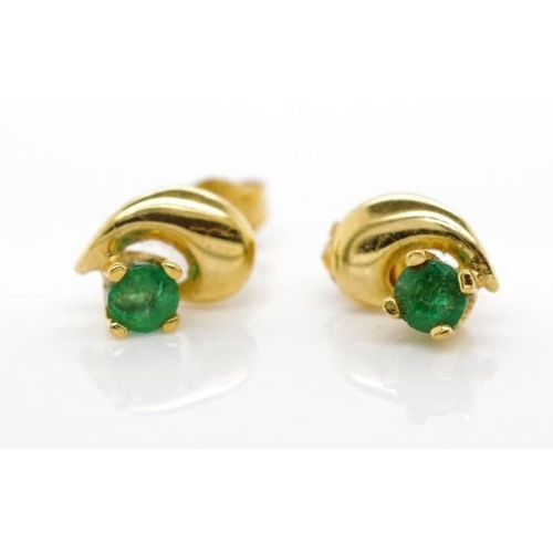 324 - 9ct yellow gold and emerald stud earrings marked 9k approx weight 0.6grams...