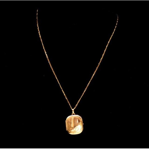 33 - 9ct yellow gold locket and fiagro chain marked 375 to both approx weight 4.7 grams,...