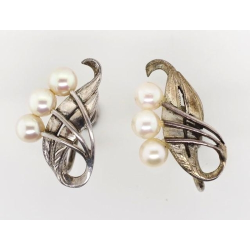 332 - Mikimoto sterling silver and pearl earrings marked to the screw back clips...