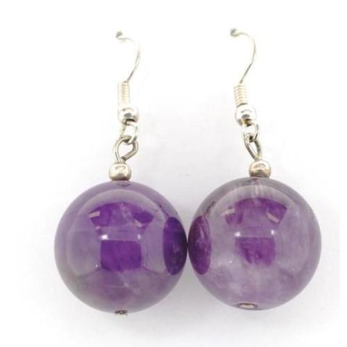 333 - Silver and amethyst bead earrings on shepherd hooks approx 16mm beads...