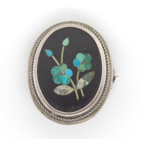 335 - Pietra Dura and silver brooch marked 800 approx 22mm width...