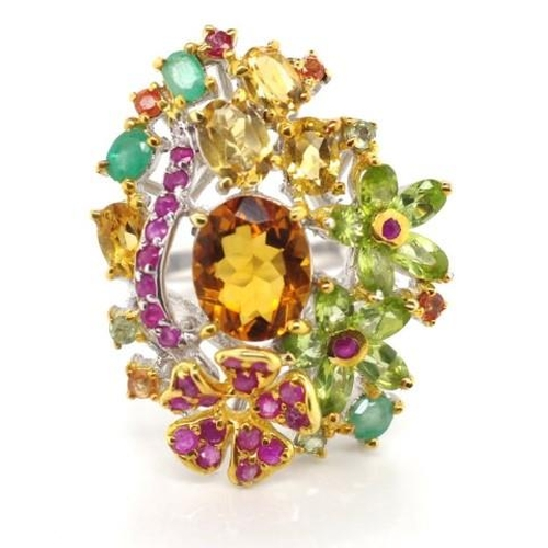 337 - Multi gem flower ring sterling silver and gilt ring set with ruby, emerald, citrine, peridot,. Appro...