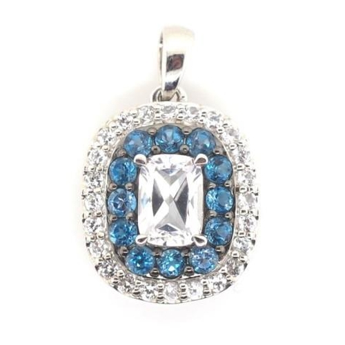 341 - 9ct gold and blue and white gemstone pendant marked 9k approx 2.3 grams weight...