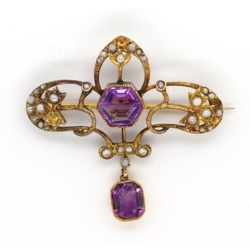 346 - Antique gilt, amethyst and pearl brooch unmarked approx 5.4 grams...