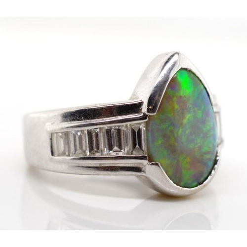 35 - A Germani 18ct white gold ring set with doublet opal and diamonds marked 750 Germani approx 11.4mm x...
