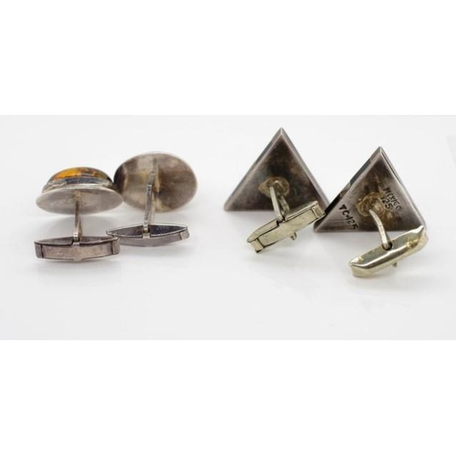 355 - Two pairs of silver cufflinks wing backs both marked 925...