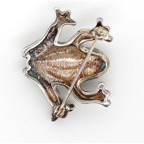 358 - Silver and enamel frog brooch marked 925...