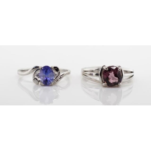 359 - Two gemstone rings. includes a tanzanite and a good coloured spinel, in sterling silver rings. Ring ...