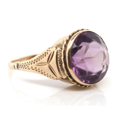 36 - Rose gold and amethyst ring unmarked. Approx weight 3.67 grams, ring size L-M...