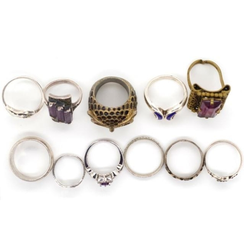 360 - A collection of rings includes sterling silver, enamel, gemstone set, antique examples....