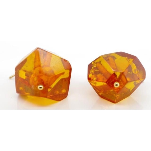 362 - Facetted Baltic honey amber earrings with 9ct gold fittings...