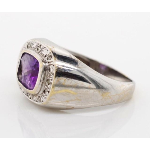 37 - 9ct white gold, amethyst and diamond ring marked A&C 375 approx weight 5.79 grams, ring size Q...