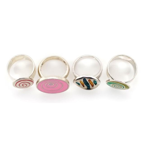 376 - A group of sterling silver and enamel rings all marked 925 approx ring sizes O-Q...