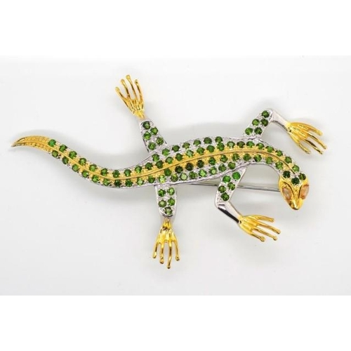 377 - Tsavorite, sterling silver and gilt gecko brooch approx 82mm length...