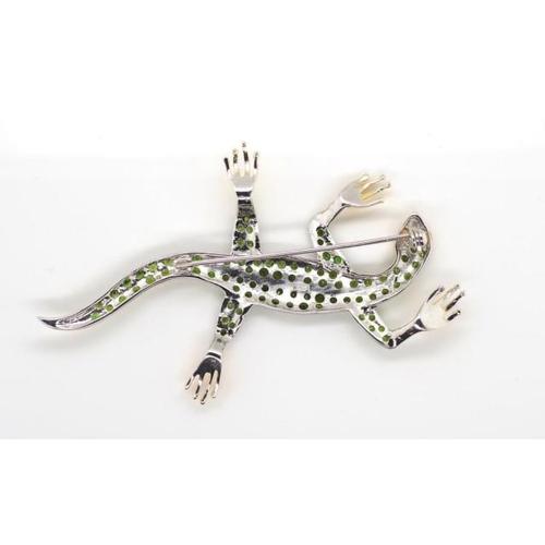 377 - Tsavorite, sterling silver and gilt gecko brooch approx 82mm length...