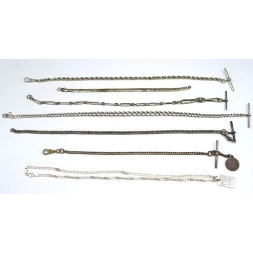 384 - A collection of silver chains to include mostly sterling pieces, t-bars, bracelet, and some base met...
