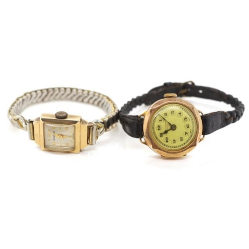 386 - Two Ladies wrist watches for parts or restoration both cases with 9ct gold marks....