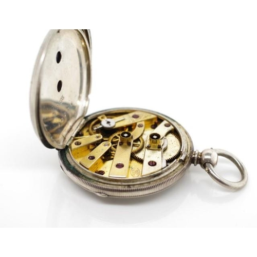 389 - Sterling silver pocket watch open face with roman numerals Marked fine silver approx diameter 40mm. ...