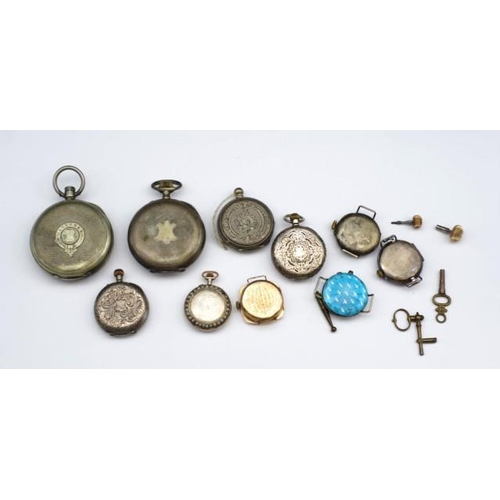 391 - A group of antique fob watches for restoration or parts, includes enamel, gold pieces etc....