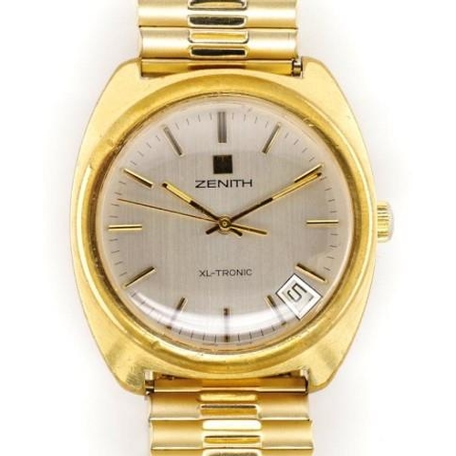 392 - Zenith XL-Tronic men's watch with a gold plated stainless steel case approx 36mm width ex crown. Ear...