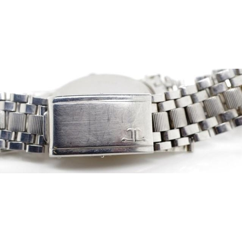 396 - Vintage Jaeger LeCoultre gents watch stainless steel case, Gay Freres flip lock bracelet approx case...