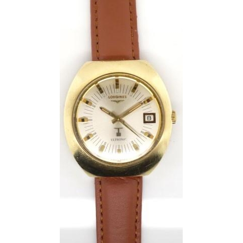 399 - Longines ultronic watch electronic movement. Circa 1970s with a stainless steel and gold plated case...