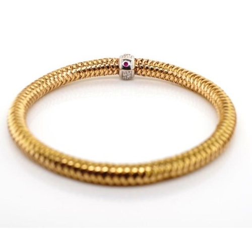 4 - 18ct rose gold and diamond bracelet By Roberto Coin. Approx 0.24ct, colour G-H, VS2-Si1 clarity 13 g...