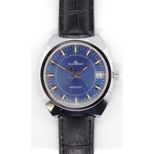 400 - Bucherer gents watch steel case, blue dial with applied batons, date window at three. Electronic mov...