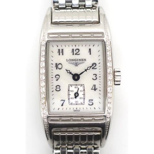 401 - Ladies Longines BellArti watch polished steel and diamond set case, with an mother of pearl dial, bl...