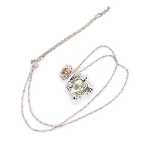 406 - Sterling silver frog and crown pendants on chain set with quartz. Marked 925 approx 44cm length...