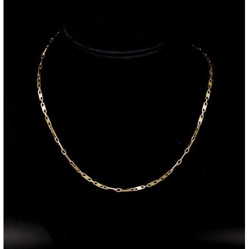 41 - 18ct yellow gold chain necklace with flat and oval links. Marked 750 Italy approx 13 grams weight, 5...