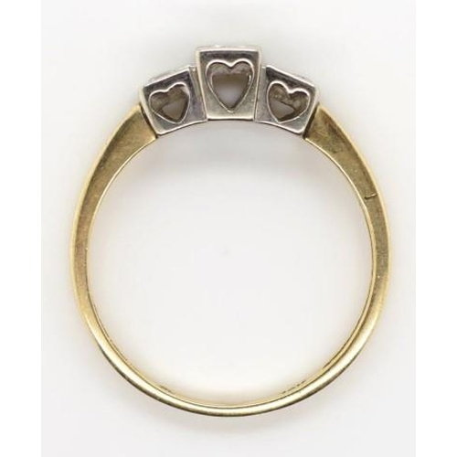 413 - 10ct gold and diamond ring yellow gold shank marked 10k. Mounted with a white gold setting decorated...