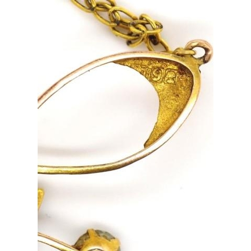42 - Antique Australian 9ct yellow gold pendant marked 9ct Melbourne, on a gilt metal chain. Set with sim...