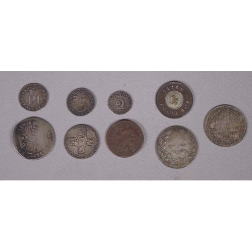 429 - Quantity of 17th/18th century coins & later tokens including a 1687 three pence, a late 17th century...